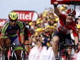 Lotto-Soudal rider Andre Greipel of Germany (R) celebrates as he wins ahead of Tinkoff-Saxo rider Peter Sagan of Slovakia (L) at the 166-km (103.15 miles) second stage of the 102nd Tour de France cycling race from Utrecht to Zeeland, yesterday. REUTERS/BENOIT TESSIER