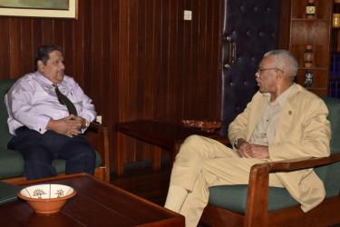 President David Granger (right) with Executive President of RUDISA, Rudi Sardjoe (GINA photo)