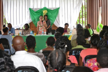 First Lady Sandra Granger delivering her remarks at the annual Women's Empowerment Conference, hosted by the Women of Mission International at the Egbert Benjamin Centre, at Mackenzie, Linden yesterday. (Ministry of the Presidency photo)