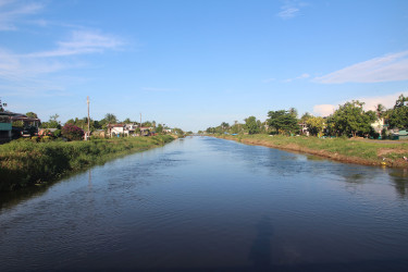 Sparkling clean: A swollen canal in the village