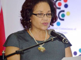 Media launch: National Carnival ­Commission chairman Lorraine ­Pouchet outlining plans for ­Carnival 2016 last week.
