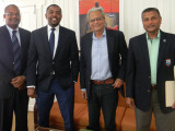 from left, WICB Vice-President Emmanuel Nanthan, President of the WICB Wycliffe 'Dave' Cameron, Minister of Education, Dr. Rupert Roopnaraine and WICB Director Anand Sanasie.