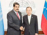 Venezuelan President Nicolas Maduro (L) with U.N. Secretary-General Ban Ki-moon in New York, July 28, 2015. (UN photo)