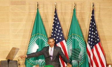 U.S. President Barack Obama talks about presidential term limits during remarks at the African Union in Addis Ababa, Ethiopia July 28, 2015. Reuters/Tiksa Negeri