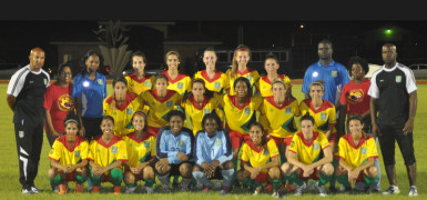 The final 19-member Lady Jags football team which will participate in Group Four of the Caribbean Football Union (CFU) Olympic Qualifiers next month in the Dominican Republic. (Photo courtesy of the Guyana Football Federation)