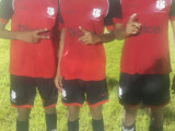 Christianburg/Wismar Secondary goal scorers from left to right Omar Brewley, Kendolph Lewis and Dequan Hercules pose for a photo opportunity following their lopsided semi-final win over Waramadong Secondary.