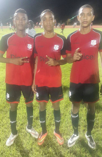 Christianburg/Wismar Secondarygoal scorers from left to right Omar Brewley, Kendolph Lewis and Dequan Hercules pose for a photo opportunity following their lopsided semi-final win over Waramadong Secondary.