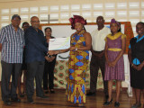 CGX Chairman Professor Suresh Narine (third from left) presents a $1,000,000 cheque to ACDA's Executive Committee Member Aisha Jean-Baptiste in the presence of ACDA members and CGX staff. This donation is to assist ACDA in covering the costs of Emancipation Day activities. The presentation took place yesterday at ACDA's Headquarters, at Thomas Lands.