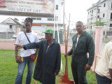 A few of the persons who participated in GPHC's cleanup exercise inspecting the work that was done