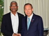 President David Granger (left) with United Nations Secretary General Ban Ki-moon   (GINA photo)