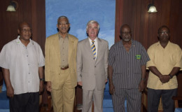 From left are Lt. Col (retired) George Gomes, President David Granger, Col. Nigel Dransfield and General Secretary of the Guyana Legion, Kingsley Nelson. (GINA photo)