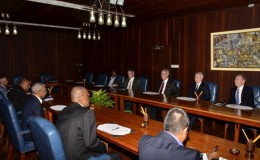 The Guyanese team lead by President David Granger, meeting with ExxonMobil's top officials on June 29, 2015 (GINA photo)