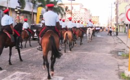 A section of the Guyana Police Force's Mounted Branch taking part in the parade (GINA photo)
