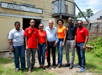 From left are: Miss Barker (Headmistress K.P.I.C), Yancey Haywood (Digicel Project Coordinator) , Michelle Hyman (Operations Manager – Customer Care), Minister of Education – Dr. Rupert Roopnaraine, Jacqueline James (Head of Marketing), Sherwyn Osborne (Head of Customer Care) & Ramesh Rupchand (Advertising Manager).