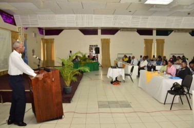 President David Granger as he addressed the gathering at the Guyana National Road Safety Council Stakeholders' Consultation Meeting 2015. (GINA photo)