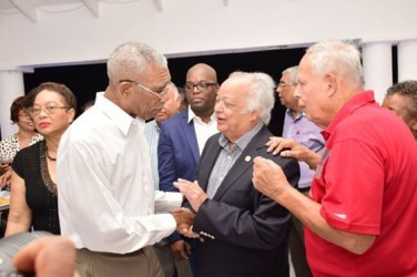 President David Granger (left) sharing a light moment with Sir Shridath Ramphal, former Commonwealth Secretary General, and Frank Da Silva (right) (GINA photo)
