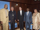 From left are President David Granger; Archbishop Nicola Girasoli; Bishop of Georgetown, Reverend Francis Alleyne; Minister of Foreign Affairs, Carl Greenidge and Minister of Social Cohesion, Amna Ally. (GINA photo)