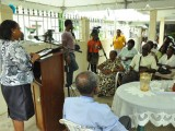 A section of the gathering being addressed by Minister of Social Protection, Volda Lawrence at the Agricola Care Givers Seniors Recognition day celebrations (GINA photo)
