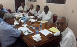 Head of the major sugar unions Kenneth Joseph of NACCIE, Komal Chand of GAWU, Seepaul Narine of GAWU and Carvil Duncan of the GLU during their meeting with members of the Commission of Inquiry, including  Chairman Vibert Parvatan (right)