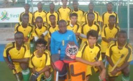 Members of the Guyana Junior National team pose for a photo opportunity prior to the commencement of a matchup.