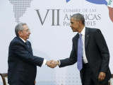 U.S. President Barack Obama (R) shakes hands with Cuba's President Raul Castro as they hold a bilateral meeting during the Summit of the Americas in Panama City, Panama, in this file photo taken April 11, 2015. (Reuters/Jonathan Ernst)