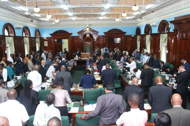 Full house: Both sides of Parliament were occupied during yesterday's opening of the 2015 budget debate.