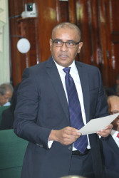 New Leader of the Opposition, Bharrat Jagdeo addressing Parliament yesterday.