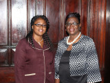 New Registrar of Lands, assistant, sworn-in: Rosalie Roberts (at right) and Wendella Austin were respectively sworn-in as Registrar and Assistant Registrar of the Land Registry yesterday at a simple ceremony before Acting Chief Justice Ian Chang at the Supreme Court. In taking their oaths, they swore to faithfully execute the duties of the offices to which they have been appointed. (Photo by Keno George)