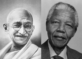 Mahatma Gandhi (left) and Nelson Mandela