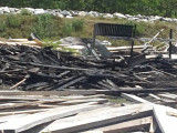 The remains of the worksite after the fire