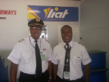 Cameron Handley Sam along with his son Cameron Handley Sam Jnr, who became the first father and son to co-pilot a LIAT aircraft together.