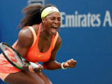 New York, NY, USA; Serena Williams of the United States reacts after winning the first set against Kiki Bertens of the Netherlands (not pictured) on day three of the 2015 U.S. Open tennis tournament at USTA Billie Jean King National Tennis Center yesterday. (Reuters)