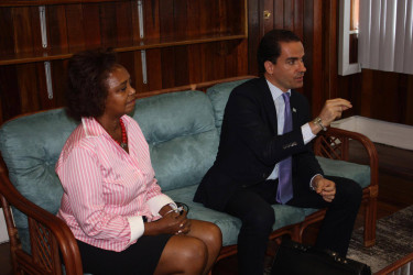 Regional representative of United Nations Office on Drugs and Crime (UNODC) Amado Philip de Andres (right) makes a point during a meeting with Attorney General Basil Williams yesterday. At left is UNDP Resident Representative Khadija Musa.