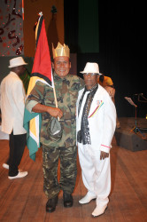 King Perai (left) with former calypso heavyweight Mighty Rebel
