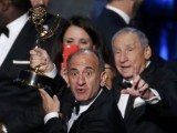 Veep's British creator Armando Iannucci (Alan Partridge, The Thick of It) accepted the show's award for outstanding comedy series from comedy legend Mel Brooks.