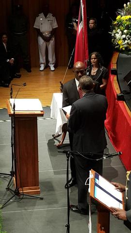 President Anthony Carmona presenting the instrument of appointment to Prime Minister Dr Keith Rowley after he took his oath of office today. Photo courtesy CNC3