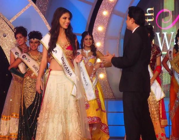 Miss India Guyana Lieve Blanckaert receives the Miss Beautiful Skin Award in Mumbai.