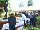 Indian High Commissioner Shri Mahalingam (Left) and President David Granger (Right) laying a floral tribute at the Gandhi statue in the Promenade Gardens.