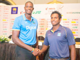 West Indies captain Jason Holder shakes hands with Sri Lanka captain Angelo Mathews at the official pre-series launch last night. (Cricinfo photo)