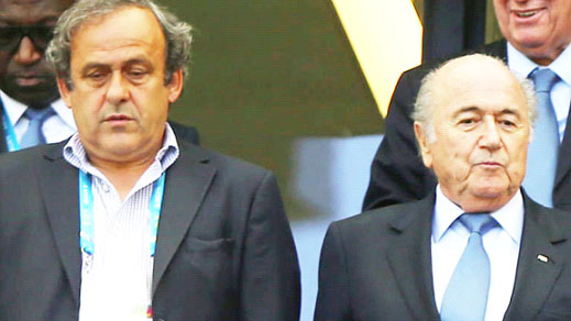 UEFA president Michel Platini (l), with his FIFA counterpart Sepp Blatter