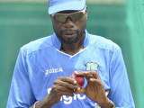 Bowling consultant Sir Curtly Ambrose … is advising on shorter spells for the seam attack. (Photo courtesy WICB Media)
