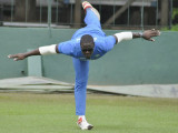 All-rounder Carlos Brathwaite balances during a training session recently. (Photo courtesy WICB Media)
