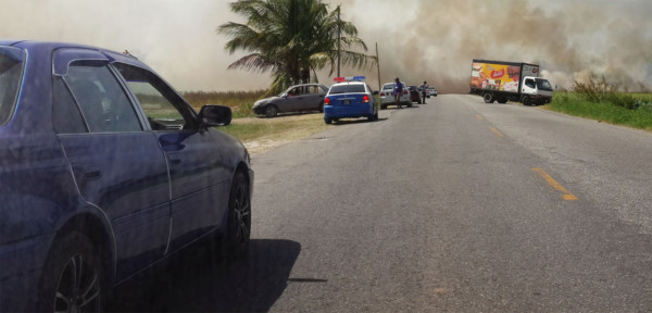 Motorists who were disrupted by the smoke from the rice fields. (Photo courtesy of Sahadeo Bates)