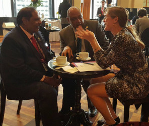 Prime Minister Moses Nagamootoo (left) with Minister of Governance Raphael Trotman (centre) and US Ambassador to the United Nations, Samantha Power at the Mexico forum (PM Moses Nagamootoo's Facebook page)