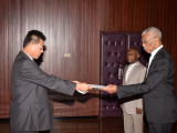 Newly accredited Non-resident Ambassador from the Democratic People's Republic of Korea, Pak Chang Yul (left), as he presented his Letters of Credence to President David Granger, earlier today, at the Ministry of the Presidency (GINA photo)