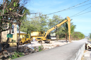 Signs of construction work and clearing at the resort