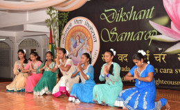 Students of SVN as they graced the stage with a dance salutation to Lord Ganesh (GINA photo)