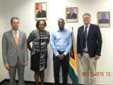 From left to right are Head of Cooperation at the EU, Ewout Sandker, Minister Annette Ferguson, Minister David Patterson and Ambassador of the European Union to Guyana, Jernej Videtič. (Ministry of Public Infrastructure photo)