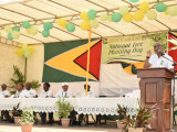 President David Granger addressing the gathering at the Bartica Community Centre (Ministry of the Presidency photo)