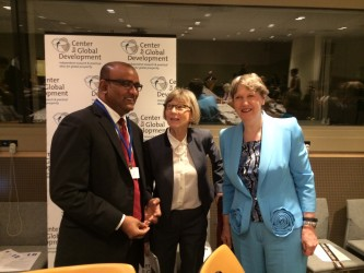 Former President Dr. Bharrat Jagdeo with Nancy Birdsall, President of the Center for Global Development (centre) and Helen Clark , Head of the United Nations Development Programme  at the United Nations Headquarters, New York, USA. (Office of the Leader of the Opposition photo)